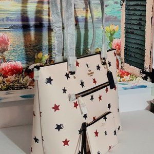 Coach Gallery Tote with Star Print